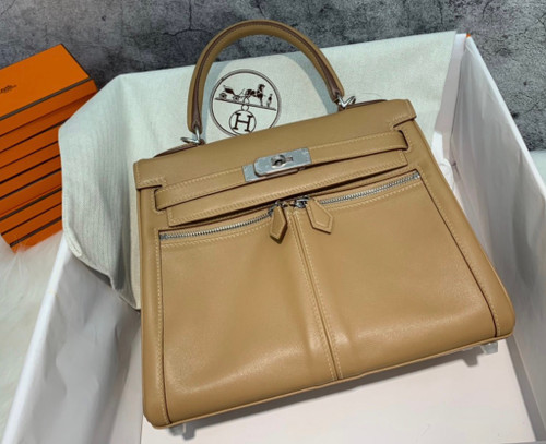 Hermes Special Order Kelly Lakis 32 Abricot with Palladium Hardware