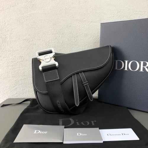 Christian Dior SADDLE BAG IN BLACK CALFSKIN for man