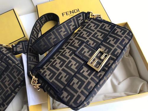 FENDI BAGUETTE LARGE Brown fabric bag