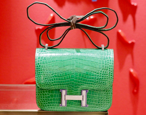 Hermes Bamboo Crocodile Shiny Leather  Constance 23 Bag with 18-karat white gold and diamond
