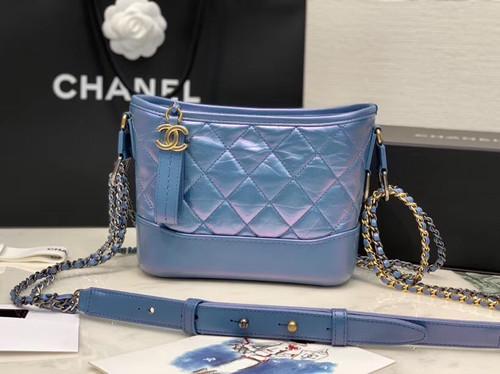 CHANEL'S Iridescent GABRIELLE Small Hobo Bag Blue