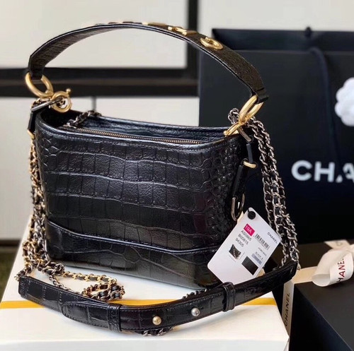 CHANEL'S SMALL GABRIELLE Black Crocodile Embossed Hobo Handbag 2019