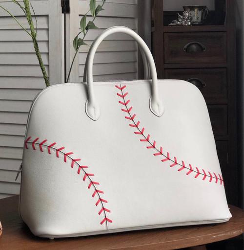 Hermès Bolide 1923 Baseball 45cm Gris Perle Rouge Evercolor Leather