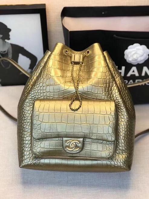 Chanel Gold Large Backpack with Metallic Crocodile Embossed Calfskin