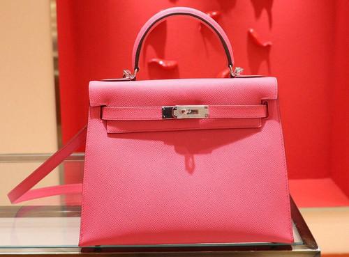 Hermès 8W Rose Azalee  Kelly 28  Epsom Palladium Hardware
