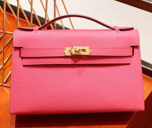 Hermès  8W Rose Azalee Mini Kelly Pochette Epsom leather Gold hardware