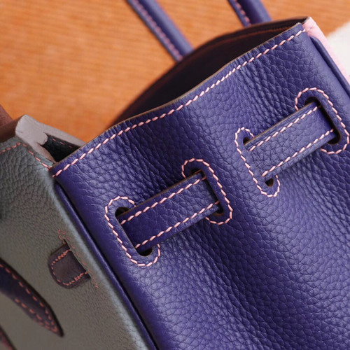 Hermes Special Order Tri-Colour Blue Lin/Iris/Rose Confetti  Birkin 25 cm Togo Palladium  Hardware