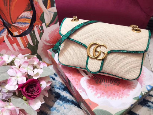 Gucci Online Exclusive GG Marmont raffia small shoulder bag