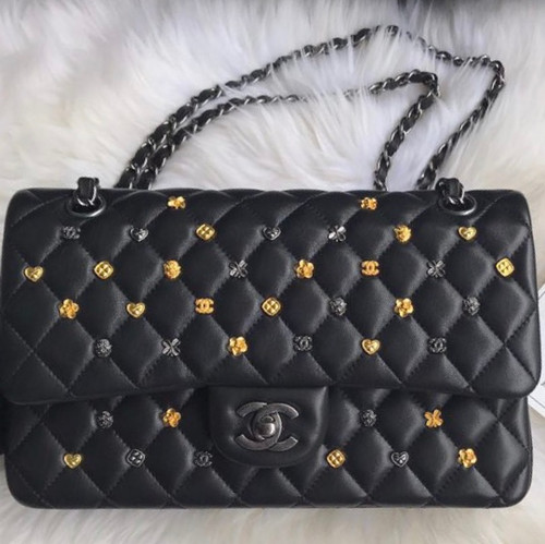Chanel Black Leather Medium Classic 18K Gold Charms Double Flap Bag With Aged Silver hardware