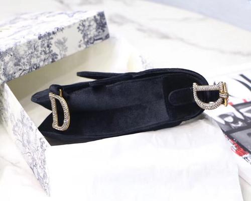 Christian Dior MINI SADDLE VELVET BAG  BLACK