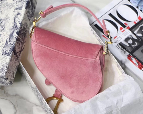 Christian Dior MINI SADDLE VELVET BAG PINK