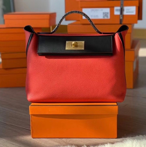 Hermes Kelly 24/24  Black & S5 Rouge Tomate  Swift & Togo Leather with Gold Hardware