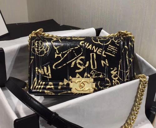 Chanel Limited Edition Crocodile Embossed BOY CHANEL Handbag SS2019 BLACK
