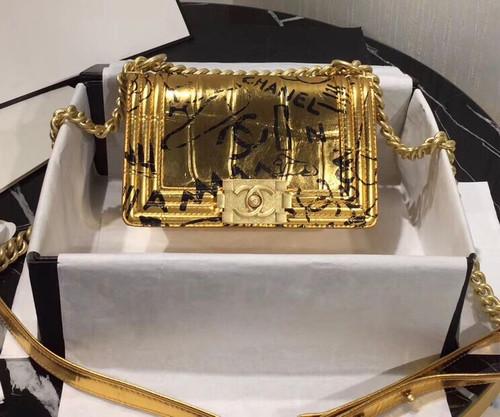 CHANEL Limited Edition Crocodile Embossed Small BOY CHANEL Handbag SS2019 GOLD