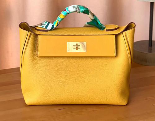 Hermes Kelly 24/24 Amber Swift & Togo Leather with Gold Hardware