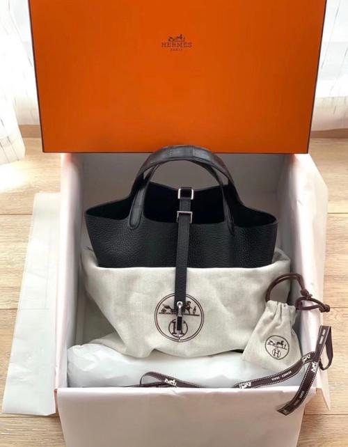 Herme Picotin Lock Touch bag MM Black Clemence leather/Matt alligator crocodile skin Silver hardware