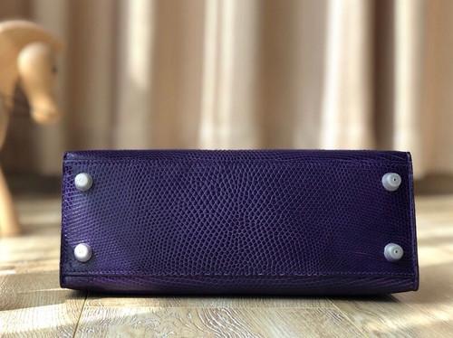 Hermes Kelly 25 Bag Sellier Purple  Lizard Palladium Hardware