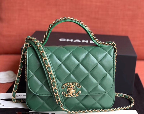 Chanel Flap Bag With Top Handle AS0970 Green