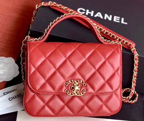 Chanel Flap Bag With Top Handle AS0970 Red
