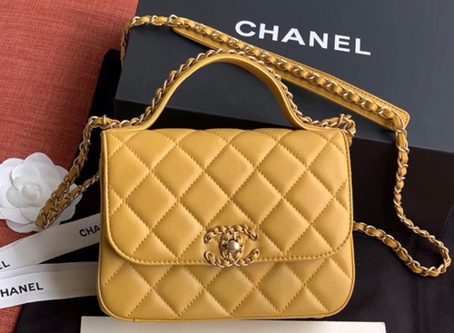 Chanel Flap Bag With Top Handle AS0970 Mustard