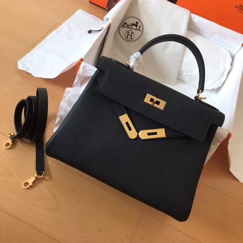 Hermes Black  Kelly 25 cm Epsom Gold Hardware