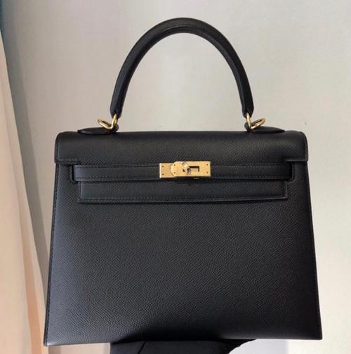 Hermès Black  Kelly 28  Epsom Gold Hardware