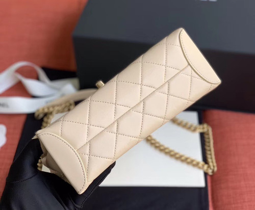 Chanel Flap Bag With Top Handle Cream AS1174