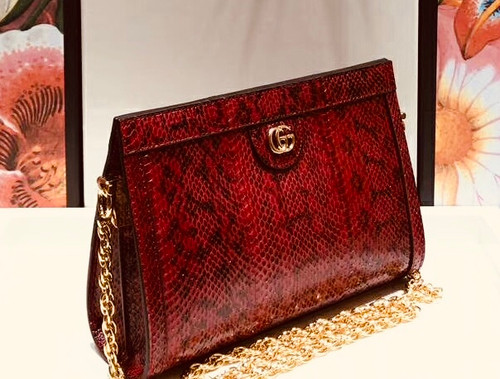 Gucci Ophidia small snakeskin shoulder bag Red