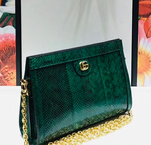 Gucci Ophidia small snakeskin shoulder bag Green