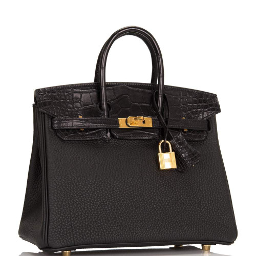 Hermès Black Matte Alligator/Togo Birkin Touch 25cm Gold Hardware