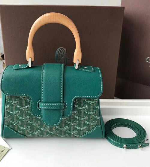 Goyard Saigon Mini  Leather Cross Body Bag Green