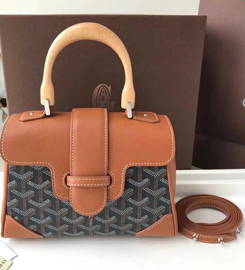 Goyard Saigon Mini  Leather Cross Body Bag Brown