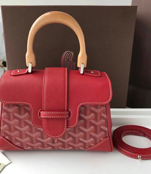 Goyard Saigon Mini  Leather Cross Body Bag Red