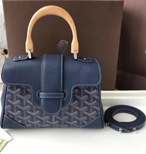 Goyard Saigon Mini  Leather Cross Body Bag Navy