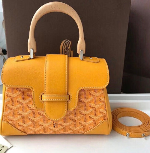 Goyard Saigon Mini  Leather Cross Body Bag Mustard