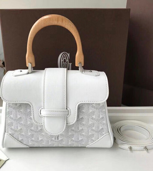 Goyard Saigon Mini  Leather Cross Body Bag White