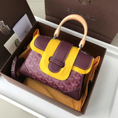 Goyard Saigon Mini  Leather Cross Body Bag Bordeaux