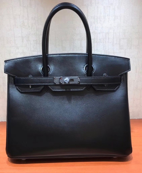Hermes Birkin 35 Bag Black Rare Box Leather Palladium Hardware