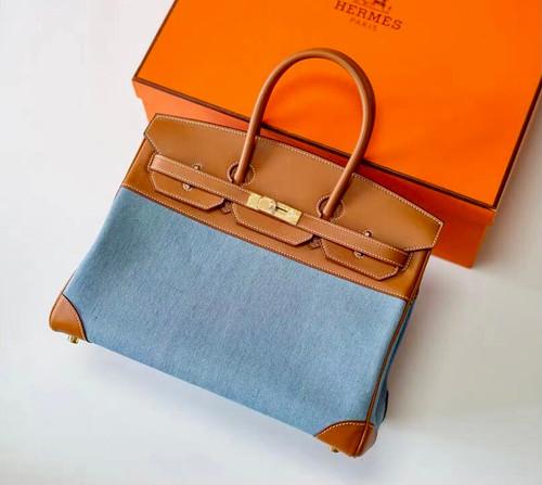 HERMÈS Blue Toile Birkin 35 with Barenia Leather