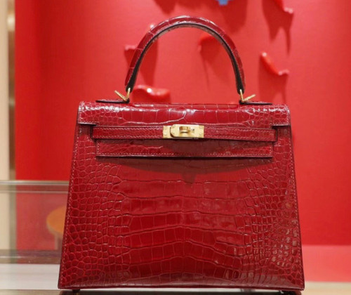 Hermes Ruby Alligator Kelly 28