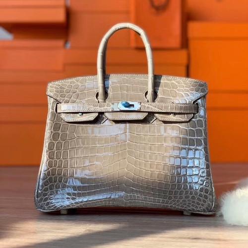Hermes GRIS TOURTERELLE Birkin Bag 25cm Niloticus Crocodile Palladium Hardware