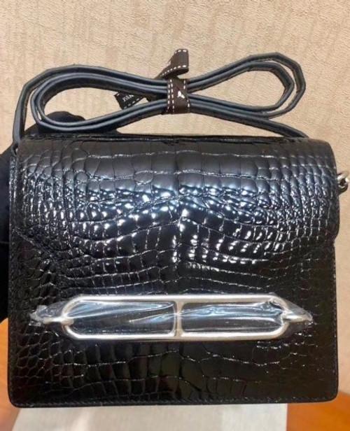 Hermes Noir Shiny Alligator PHW Roulis Mini 18/19 Handbag