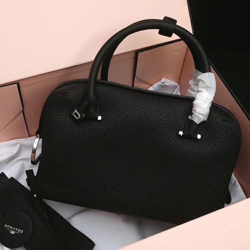 DELVAUX Cool Box Leather Satchel Black