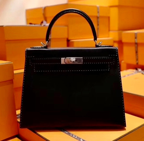 HERMES LIMITED EDITION KELLY 28 MISS YOU SELLIER UN POINT SUR DEUX NOIR BLACK MONSIEUR PALLADIUM HARDWARE