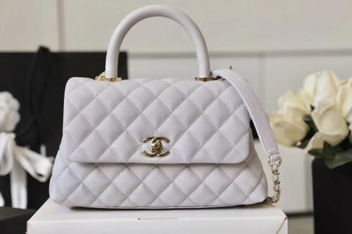 Chanel Mini Coco Handle Bag with Calfskin  Handle Light Grey