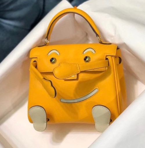 Hermes Quelle Idole Kelly Doll Bag 9V Jaune d'or Swift Palladium Hardware