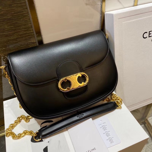 Celine MEDIUM CHAIN MAILLON TRIOMPHE BAG IN SHINY CALFSKIN