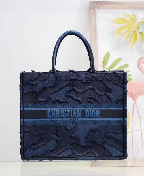 Christian Dior Blue  DIOR BOOK TOTE CAMOUFLAGE EMBROIDERED CANVAS BAG