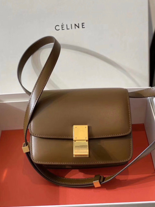 Celine SMALL CLASSIC BAG IN BOX CALFSKIN CAMEL