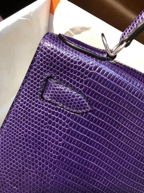 Hermes 9W Ultraviolet Lizard Kelly 28 Bag Palladium Hardware